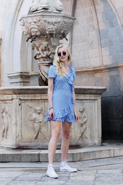 f24513e79411 dress tumblr polka dots blue dress wrap dress ruffle dress mini dress  summer dress sneakers high