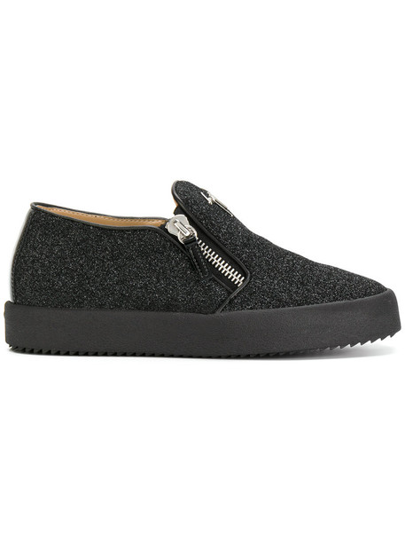 GIUSEPPE ZANOTTI DESIGN glitter women spandex sneakers leather black shoes