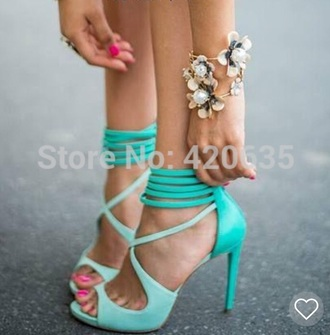shoes wrap up heels teal