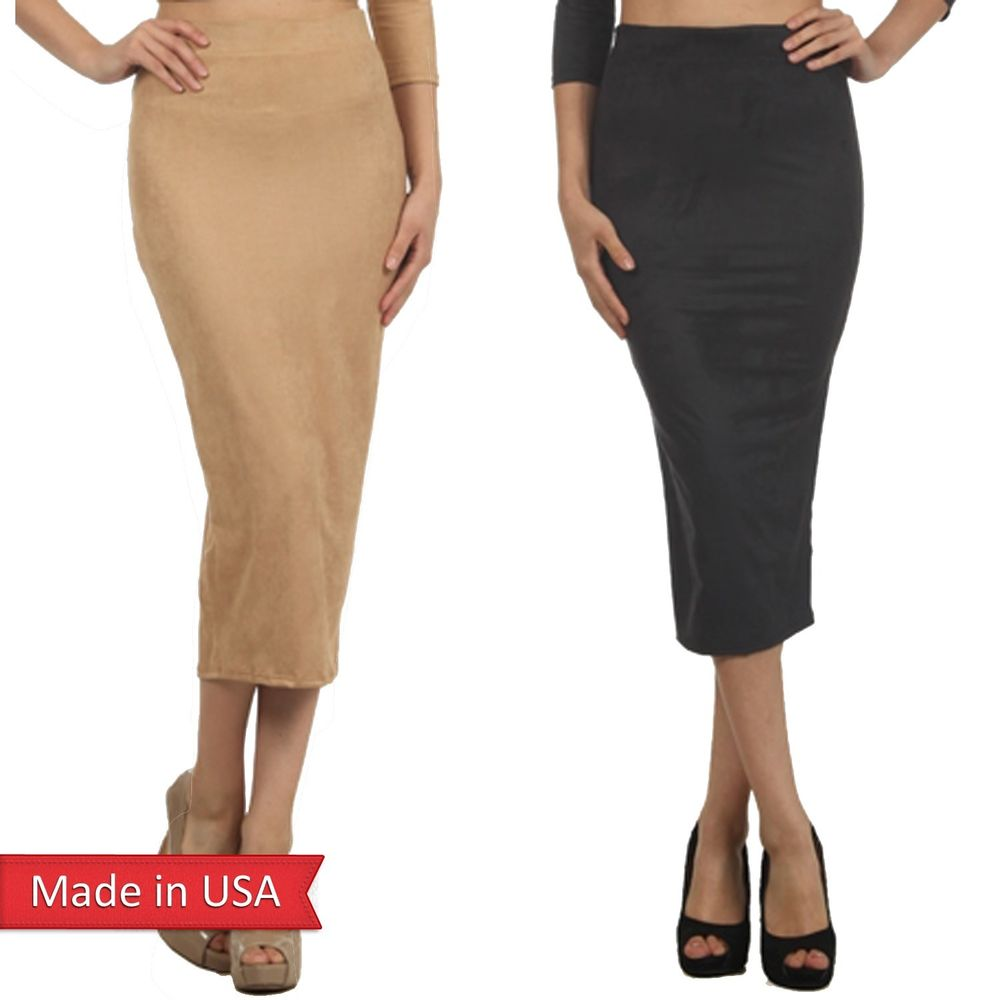 New Women Fashion Suede Nude Black Solid Color High Waist Pencil Midi Skirt USA