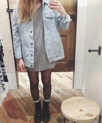 jacket denim jacket fashion style tumblr outfit outfit nail polish dress