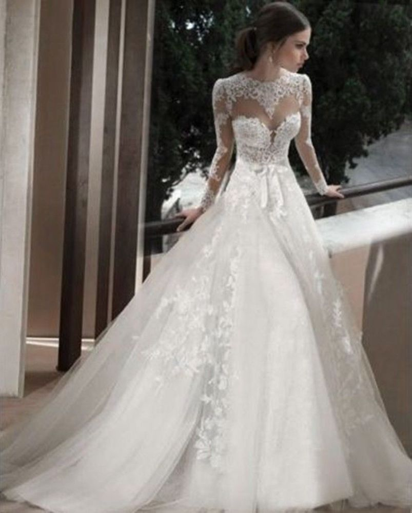 New sheer lace applique wedding dresses bridal gowns for Ebay wedding dresses size 12