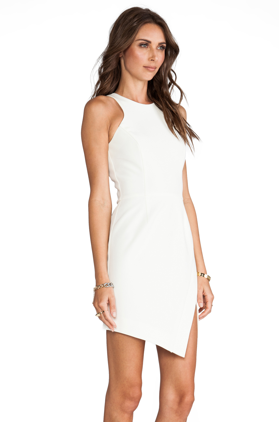 NICHOLAS Bonded Silk Wrap Skirt Dress in Milk from REVOLVEclothing.com