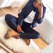 coat,pants,leather pants,black jeans,skinny pants,jeans,jacket,quilted,pleated,timberlands,leopard print,black,leather,diamonds,square,gold,cold,rug,carpet,watch,gold iphone,iphone 5 case,gold iphone 5,iphone 5s,gold iphone 5s,nails,acrylic,acrylic nails,french,french nails,faux,fur,faux fur,faux leather,blouse,shoes,t-shirt,boots,brown,timberland,leo,timberland shoes,beige boots,timberlands boots,leopard timberlands,black jacket