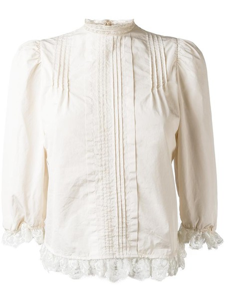 Dsquared2 blouse pleated women nude cotton top
