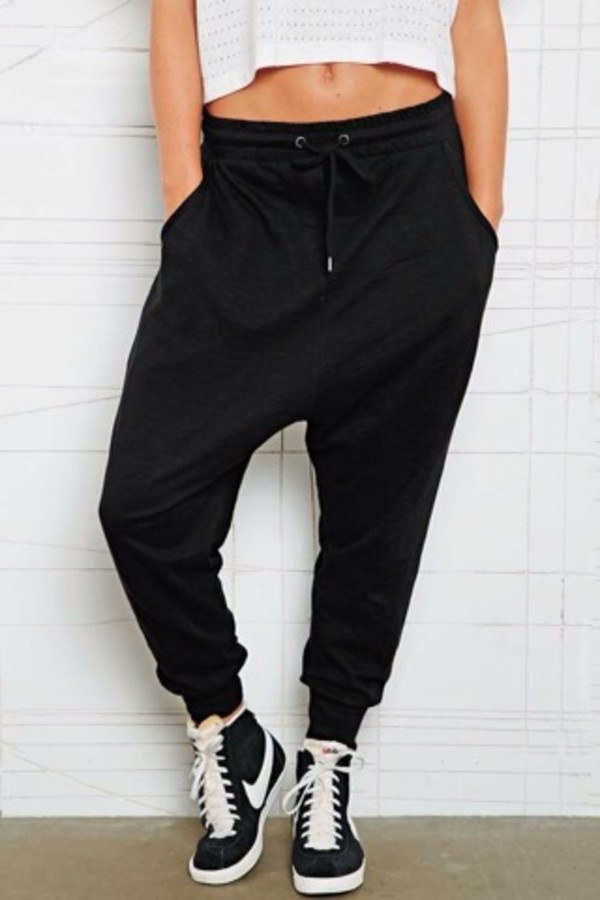 Simple Pants Grey DropCrotch Pants Low Crotch Pants Women Harem Pants