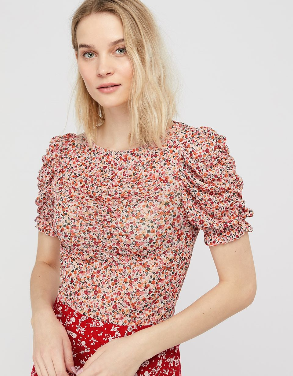 Fia Floral Sheer Mesh Top