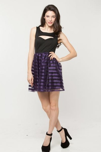 dress center cut cicihot purple