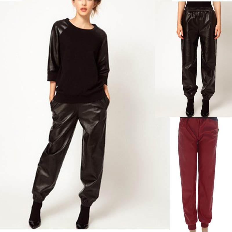 Free shipping black loose harem faux leather sweatpants joggers Plus size pants onsale high street fashion women pants-in Pants & Capris from Apparel & Accessories on Aliexpress.com