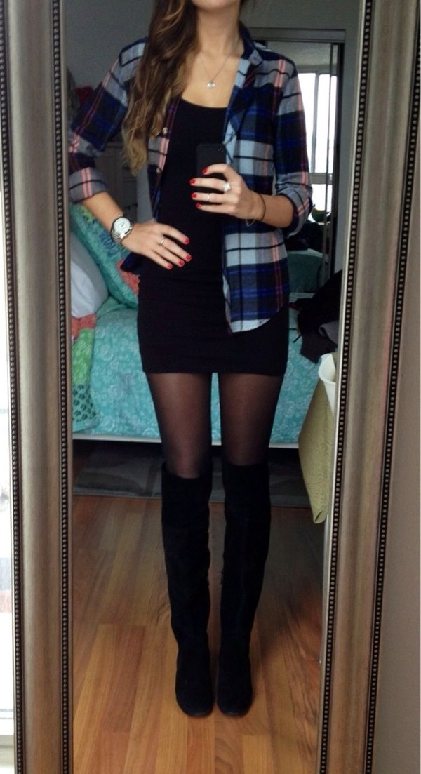 dress black shoes sunglasses sweater plaid little black dress boots tomboy