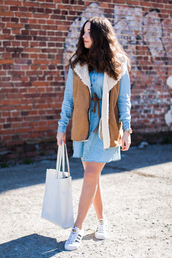 kolorowa dusza,blogger,dress,jacket,bag,jewels,shoes,shearling vest,shearling,suede,mini dress,denim dress,long sleeves,long sleeve dress,tote bag,white bag