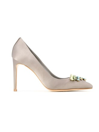 women embellished pumps leather grey shoes