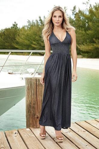 dress denim ruched torso open back mapalé halter neck top maxi length dresses