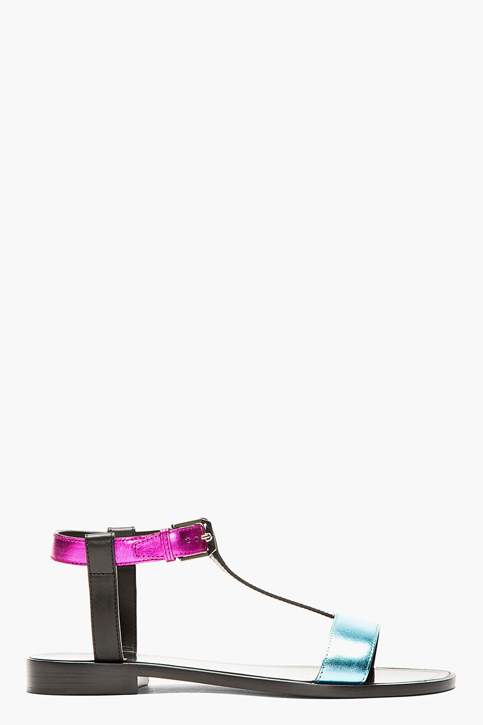 saint laurent magenta and blue metallic leather sandals