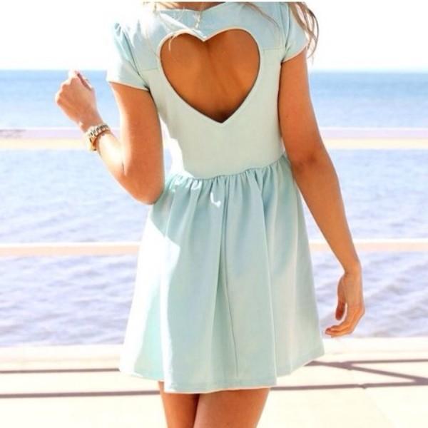 dress heart shaped back cut out blue dress casual cute
