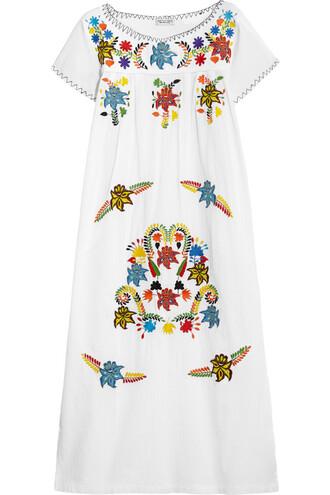 dress midi dress embroidered midi cotton white