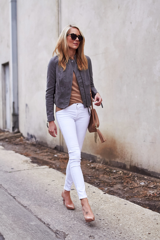 jacket grey suede jacket pink top white jeans nude heels blogger