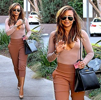 pants brown nude romper yoga pants stretch pants top formal casual tight fitted joggers sweatpants neutrals