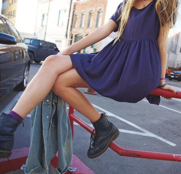 dress blue cute grunge hipster smock dress blue dress shoes boots black boots purple cute dress summer dress summer short dress