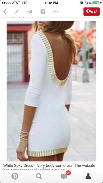 dress white bodycon long sleeve dress
