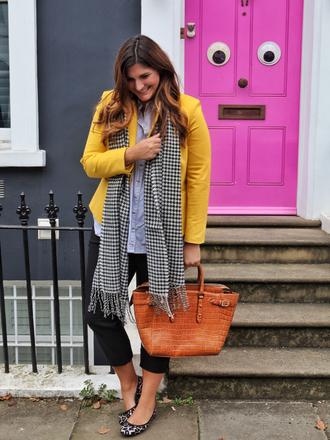 fashion foie gras blogger jacket pants scarf bag yellow jacket fall outfits ballet flats handbag