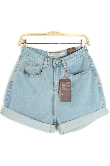 Vintage Rolled-cuff Casual Denim Shorts