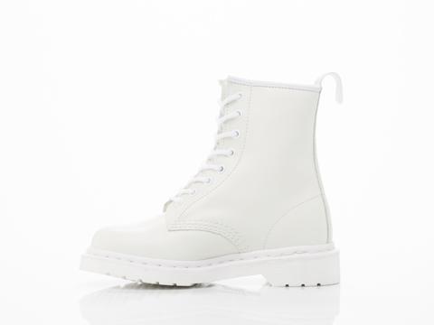 Dr. martens 8 eye boot in white monochrome at solestruck.com