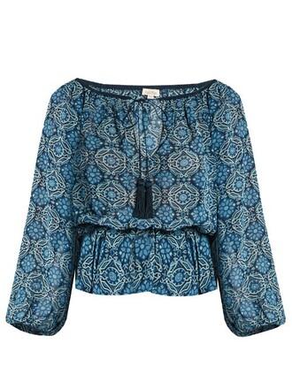top print silk blue
