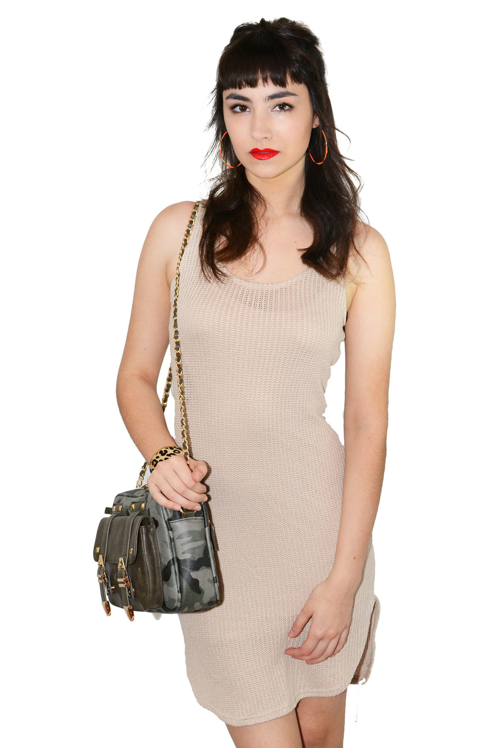 Sandy taupe knit dress — simply chic