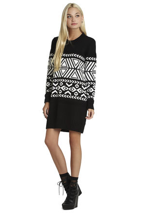 Oversized Jacquard Sweater Dress