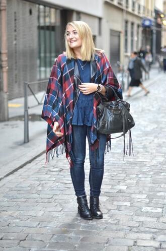 paris grenoble blogger jacket top jewels tartan blanket scarf leather jacket scarf
