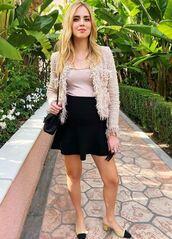 skirt,mini skirt,black,chiara ferragni,the blonde salad,top,jacket,spring outfits,blogger,maternity