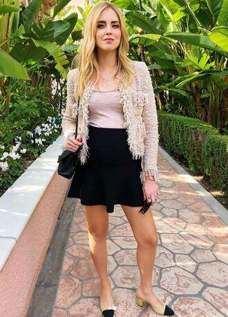 skirt mini skirt black chiara ferragni the blonde salad top jacket spring outfits blogger maternity
