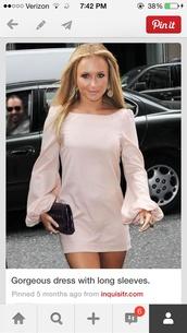 dress,hayden panettiere,pink,long sleeves,long sleeve dress,flowy