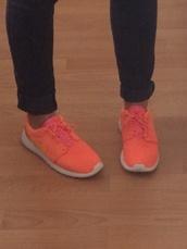 shoes,nike sneakers,orange shoes nike,roshe runs