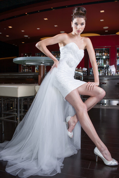 Short White Wedding Dress Black Lace : Dress lace bridal gowns wedding short