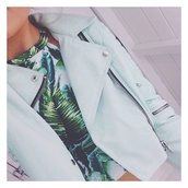 jacket,mint,zip,river island,t-shirt,palm tree print,blouse,tank top,blue jacket,perfecto,leather jacket,crop tops,summer,summer top,light blue,light green,beautiful,pretty,top,pastel,tropical,cropped,cropped jacket,leave print,halter top,baddies,blazer jacket,coat,girly,hippie,boho,bohemian,dope,hipster,shirt,floral,leaves,green,hat,zipup,collared,white,print,palms,hawaiian,fashion,style,jewelry,hair,biker,blue
