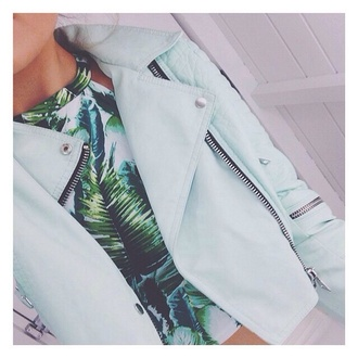 jacket mint zip river island t-shirt palm tree print blouse tank top blue jacket perfecto leather jacket crop tops summer summer top light blue light green beautiful pretty top pastel tropical cropped cropped jacket leave print halter top baddies blazer jacket coat girly hippie boho bohemian dope hipster shirt floral leaves green hat zipup collared blue