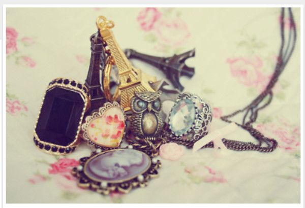 jewels ring necklace heart owl eiffel tower