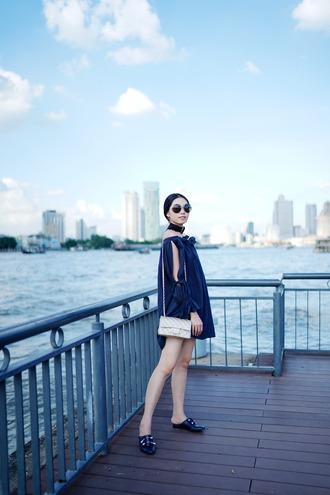 olivia lazuardy blogger sunglasses dress bag shoes chanel bag blue dress mini dress loafers
