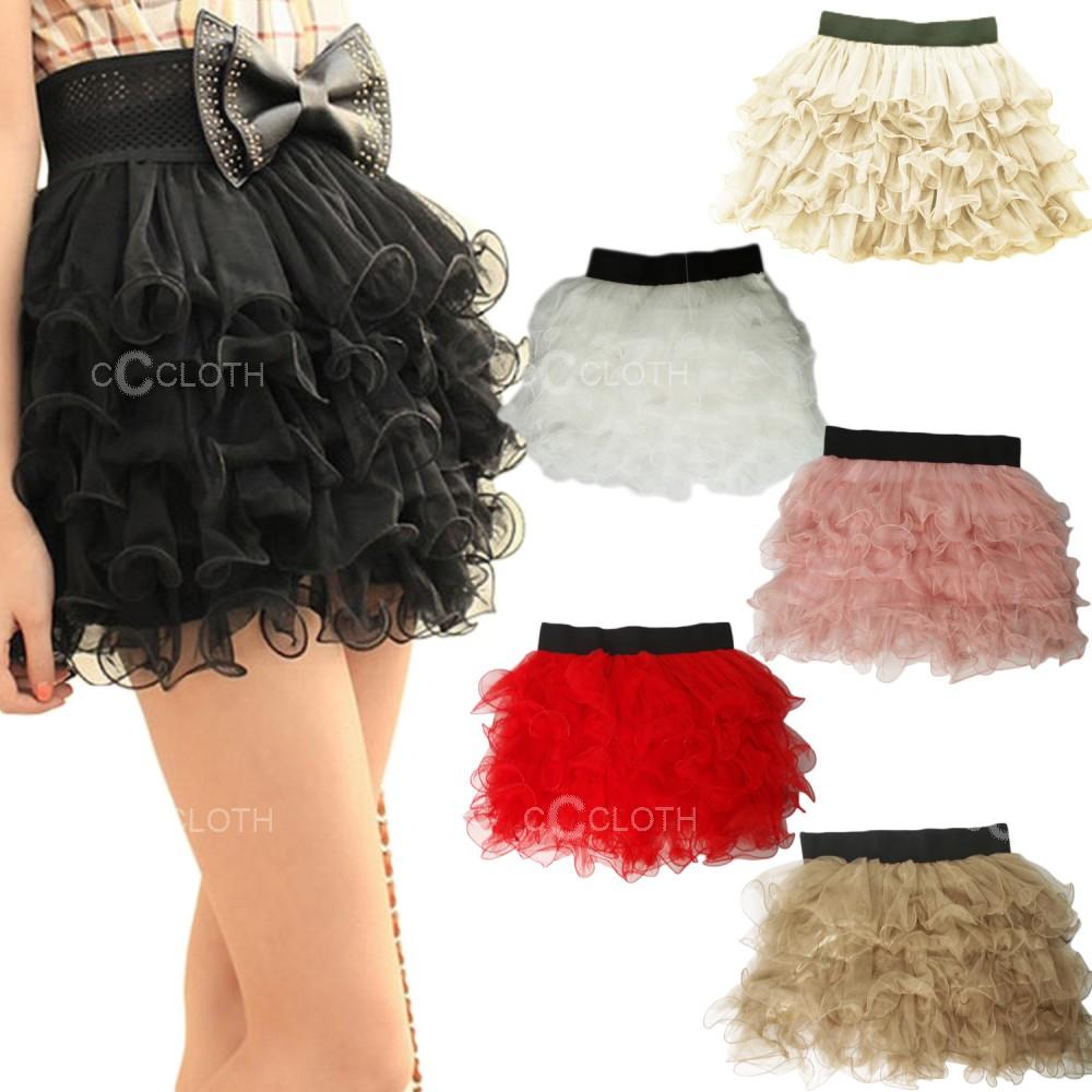 Sexy Girl Women Layered Lace Ruffle Stripes Mini Short Skirt | eBay