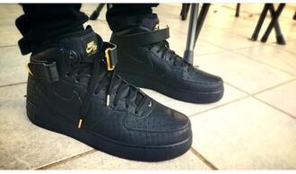 shoes nike black gold black shoes black nike nike air force