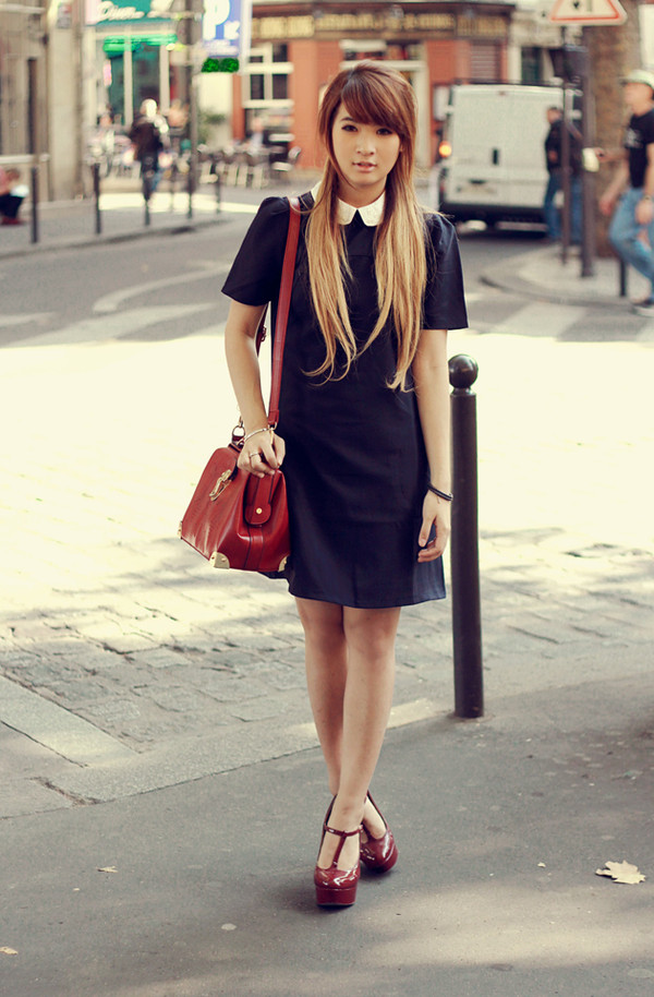 brown platform t-shirt dress bag shoes