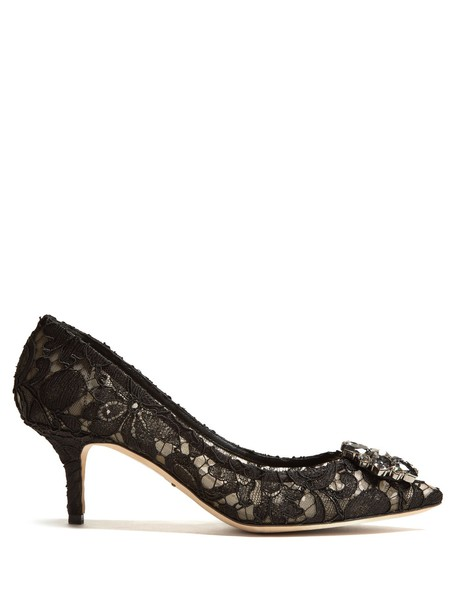 Dolce & Gabbana embellished pumps lace black shoes