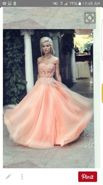 dress salmon pink peach