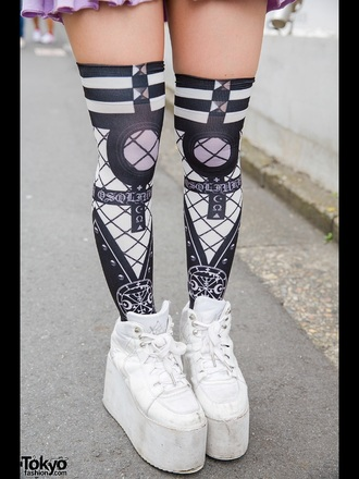 socks goth otk over the knee socks knee high socks harajuku pastel goth