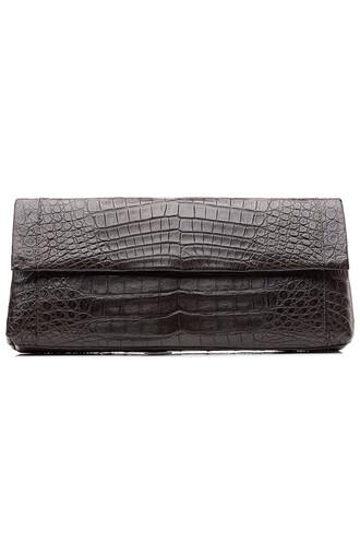 clutch crocodile brown bag