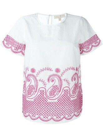 t-shirt shirt embroidered white top