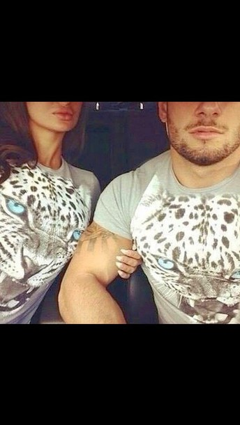 shirt t-shirt couples shirts tiger print tiger shirt