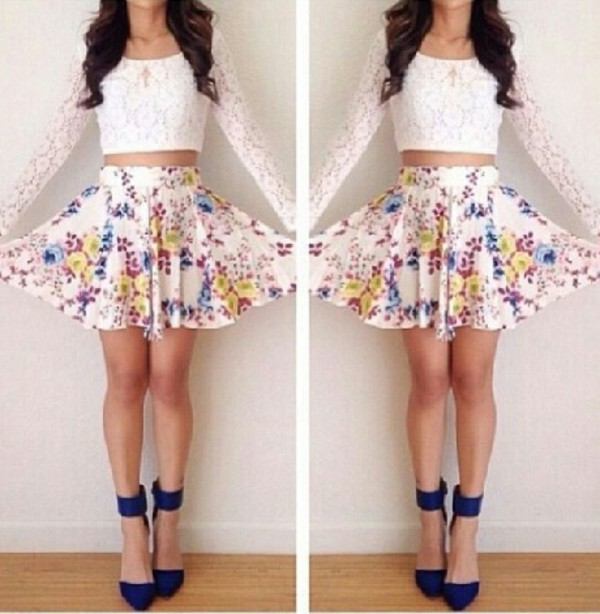 Skirt Floral Colorful Cute Skirt Shoes Shirt Classy